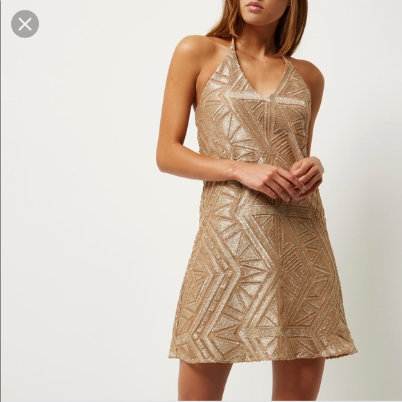 River Island Dresses & Skirts - NWT River Island Gold Sequin Embroidered Dress!